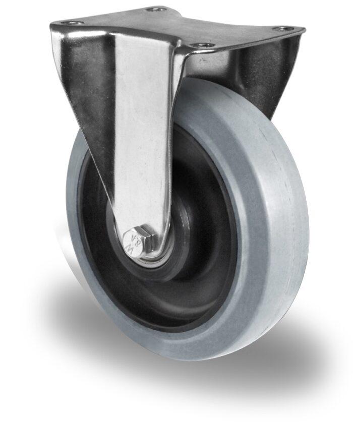 200mm Fixed Castor Grey Elastic Rubber