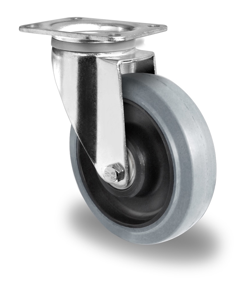 200mm Swivel Castor Grey Elastic Rubber