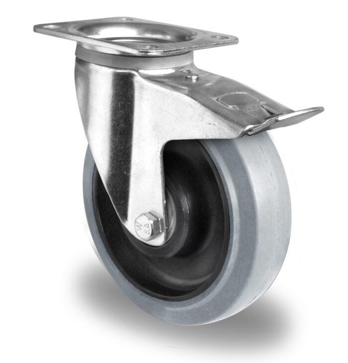200mm Swivel Brake Castor Grey Elastic Rubber